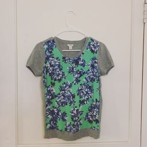 j. crew gray green & blue floral tee